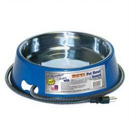 Farm Innovators Model SB-40 3-Quart Heated Pet Bowl with Stainless Steel Bowl Insert, Blue, 40-Watt