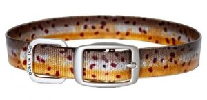 Dublin Dog Koa Collection Trout Series 17 by 21.5-Inch Dog Collar, Large, Brown Trout