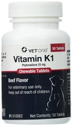 Vet One Vitamin K1 Chewable Tablets, Phytonadione 25mg, 50 Beef Flavor Tablets