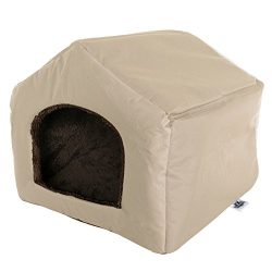 PETMAKER Cozy Cottage House Shaped Pet Bed, Tan, 19″ x 18.5″ x 17″