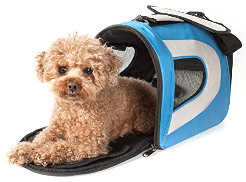 PET LIFE Airline Approved Collapsible Zippered Folding Sporty Mesh Travel Fashion Pet Dog Carrier Crate, Medium, Blue & Grey