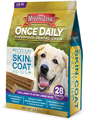 The Missing Link – Once Daily All Natural Omega Dental Chew – Skin, Coat & Teeth – L/XL Dog – 28 day supply