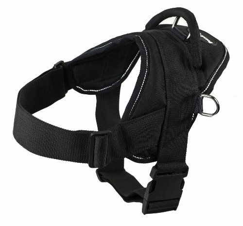 Dean and Tyler DT Dog Harness, Black With Reflective Trim, Medium – Fits Girth Size: 28-Inch to 34-Inch