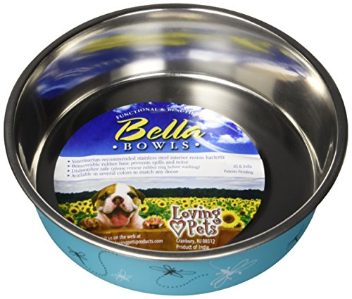 Loving Pets Bella Bowl Designer & Expressions Dog Bowl, Medium, Dragonfly, Turquoise