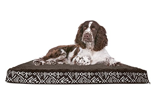 FurHaven Pet Dog Bed | Deluxe Orthopedic Plush Kilim Mattress Pet Bed for Dogs & Cats, Southwest Espresso, Large