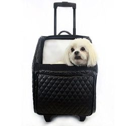 Petote Rio Bag on Wheels Pet Carrier, Black Quilted