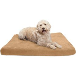 FurHaven Pet Dog Bed | Deluxe Orthopedic Suede Mattress Pet Bed for Dogs & Cats, Camel, Jumbo