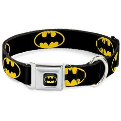 Buckle Down Seatbelt Buckle Dog Collar – Batman Shield Black/Yellow – 1.5″ Wide – Fits 16-23″ Neck – Medium