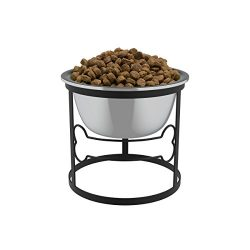 PETMAKER Stainless Steel Elevated Pet Bowl with Stand for Dogs and Cats-Raised Feeder for Food/Water with Removeable Dishwasher Safe Dish- 40 Oz