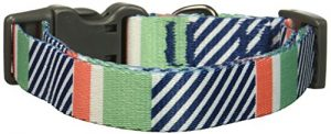 Bow & Arrow Pet Dog Collar, Nautical Stripe Adjustable Dog Collar, Medium, 1 Inch Wide, 14-20 Inches Long, Mint