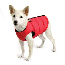 Gooby – Padded Vest Solid, Dog Jacket Coat Sweater with Zipper Closure and Leash Ring, Solid Red, Medium