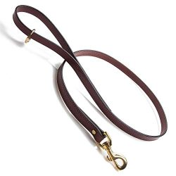 Mendota Pet Leather Dog Snap Leash, Chestnut, 3/4-Inch x 6-Feet