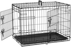 AmazonBasics Double-Door Folding Metal Dog Crate – 30 Inches