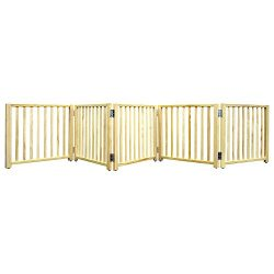 Four Paws 5 Panel Free Standing Walk Over Wooden Dog Gate, 48″-110″W by 17″ H
