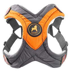 Gooby – Trekking Harness, Small Dog Fleece Lined Harness with Memory Foam Padding, Orange, Large