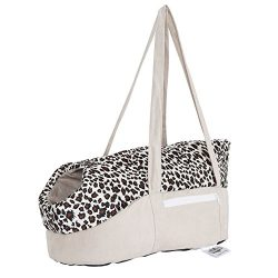 PETMAKER Cozy Travel Pet Carrier, 16.5″ x 8″ x 9″, Tan/Leopard