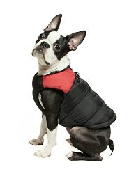 Gooby – Padded Vest, Dog Jacket Coat Sweater with Zipper Closure and Leash Ring, Red, Large