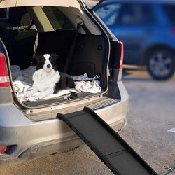 PETMAKER Bi-Fold Pet Ramp- Folding Portable Dog Ramp, Lightweight with Safe Non Slip Traction Surface & Raised Sides for Cars, SUVs, Trucks