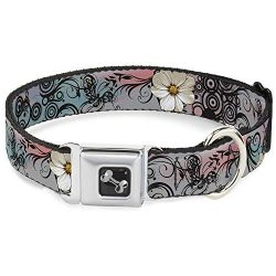 Buckle-Down Seatbelt Buckle Dog Collar – Flowers w/Filigree Pink – 1″ Wide – Fits 11-17″ Neck – Medium