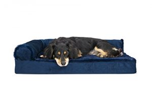 FurHaven Pet Dog Bed | Deluxe Orthopedic Plush & Velvet L-Shaped Chaise Couch Pet Bed for Dogs & Cats, Deep Sapphire, Medium