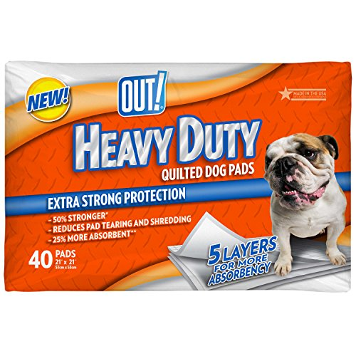 OUT! Heavy Duty Quilted Dog Training Pads, 21 x 21, 40 ct