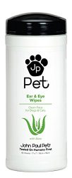 John Paul Pet Ear and Eye Pet Wipes for Dogs and Cats, Infused with Aloe, 7″ x 7″ Sheets in 45-Count Dispenser, Unscented