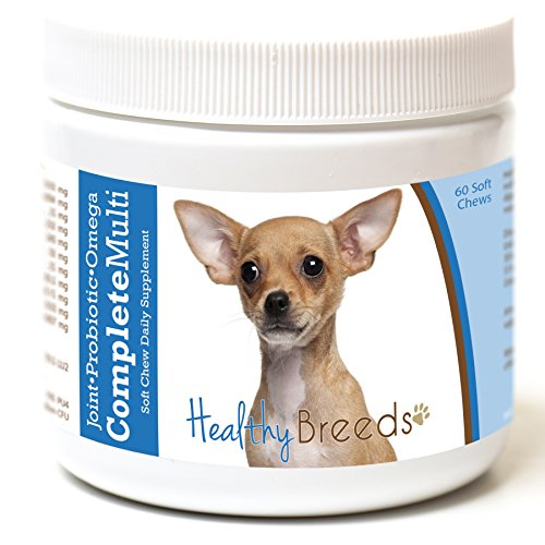 Healthy Breeds Complete Dog Multivitamin Soft Chews for Chihuahua – Over 200 Breeds – Joint Probiotic Omega 3 6 9 Vitamins – 60 Chews