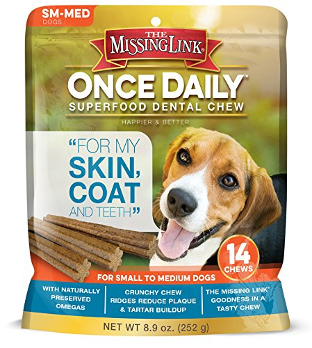 The Missing Link Once Daily All Natural Omega Dental Chew – Skin, Coat & Teeth – SMALL/MED Dog – 14 day supply