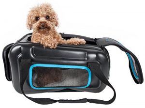 PET LIFE 'Stow-Away' Airline Approved Ergonomically designed Collapsible Lightweight Travel Pet Dog Carrier, One Size, Black, Blue