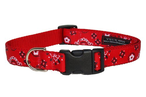 Sassy Dog Wear 13-20-Inch Red Bandana Dog Collar, Medium