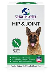 Vital Planet – Natural Hip and Joint Supplement for Dogs – Potent Herbal Blend with Green Lipped Mussel, MSM and Glucosamine – 60 Chewable Tablets