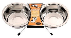 GoGo Pet Products Stainless Steel Double Diner Dog Bowl, 2-Quart
