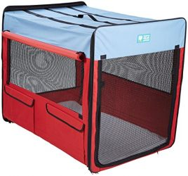 Guardian Gear Collapsible Folding Soft Portable Dog Crate XL for Extra Large Breed Dogs – Red/Blue