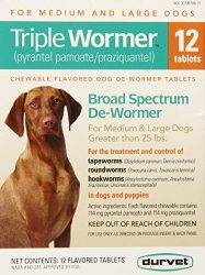 Durvet 12-Pack Triple Wormer Tablets for Medium and Large Dogs