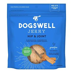 DOGSWELL Hip & Joint 100% Meat Dog Treats, Grain Free, Glucosamine Chondroitin & Omega 3, Chicken Jerky 24 oz