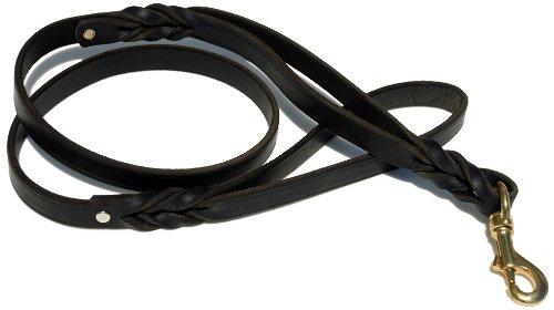 Signature K9 Double Handle Braided Leather Leash, 4-Feet x 3/4-Inch, Black