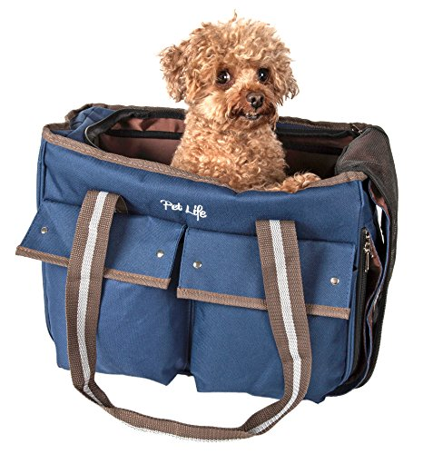 PET LIFE Mult-Pocketed Canvas Fashion Designer Travel Pet Dog Carrier, Medium, Khaki Blue