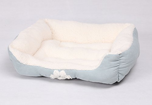 HappyCare Textiles Rectangle Pets Bed with Dog Paw Embroidery, Turquoise