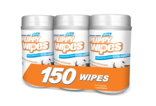 Mednet Direct Puppy Dog Pet Cleaning Grooming Deodorizing Wipes For Daily Use, 150 Mildly Scented Wipes in a 3 Canister Pack