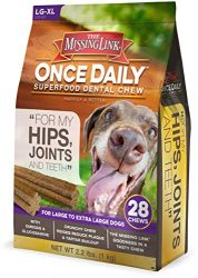 The Missing Link – Once Daily All Natural Omega Dental Chew – Hips, Joints & Teeth – L/XL Dog – 28 Day Supply
