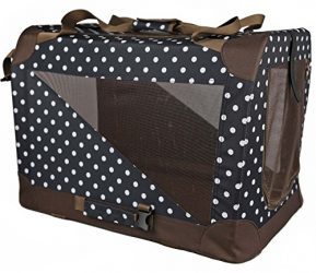 PET LIFE '360° Vista View' Zippered Soft Folding Collapsible Durable Metal Framed Pet Dog Crate House Carrier, X-Small, Polka Dot Navy
