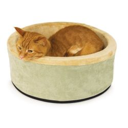 K&H Pet Products Thermo-Kitty Heated Pet Bed Small Sage 16″ 4W