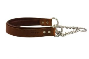 ANGEL Leather Martingale Dog Collar, 14 by 1-Inch (19 inch fully extended), Brown