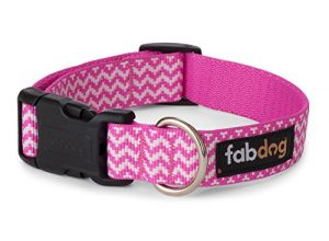 fabdog Chevron Stripe Dog Collar Pink (Large)