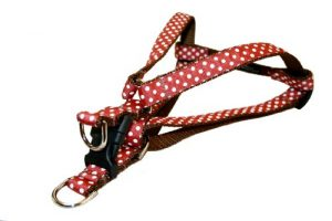 Sassy Dog Wear 15-21-Inch Rust/White Polka Dot Dog Harness, Small
