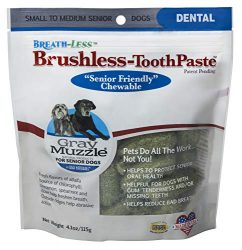 Ark Naturals Gray Muzzle Breath-less Brushless Toothpaste, Vet Recommended Natural Dental Chews for Large Senior Dogs, Plaque, Tartar and Bacteria Control
