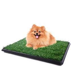 JAXPETY Puppy Pet Potty Training Pee Indoor Toilet Dog Grass Pad Mat Turf Patch, Green