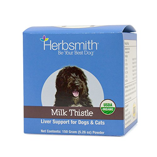 Herbsmith Organic Milk Thistle for Dogs and Cats – Liver Supplement for Dogs & Cats – Made in USA – 150g Powder