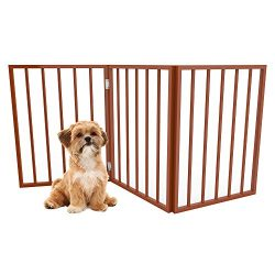 PETMAKER Foldable, Free-Standing Wooden Pet Gate- Light Weight, Indoor Barrier for Small Dogs/Cats by Light Brown, 24 Inch Step Over Doorway Fence