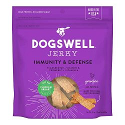 DOGSWELL Immunity & Defense, Flaxseed Oil, Turmeric, Vitamin E & A, Healthy Aging, Chicken Jerky 24 oz